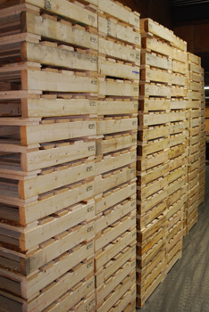 Wooden pallets in a stack